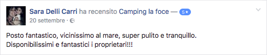 Recensione Facebook Camping La Foce