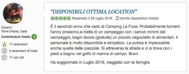 Recensione Tripadvisor Camping La Foce